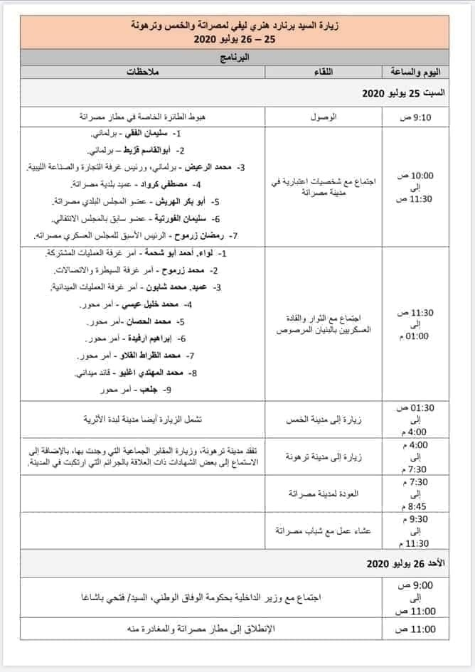 جدول أعمال ليفي في ليبيا